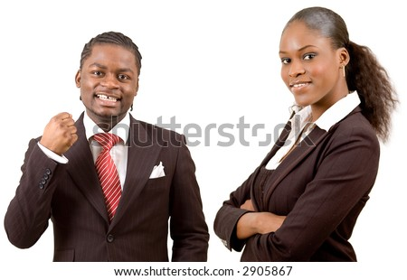 "This is an image of a happy businessman and a happy businesswoman. This image can be used to represnt ""Happy Business Team"" themes"