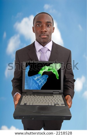 """This is an image of a man holding a laptop. This image can be used represent """"Network"""" concepts. - stock photo"""
