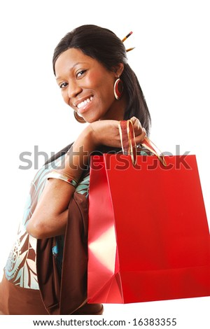 This is an image of a woman representing shopping themes. - stock photo
