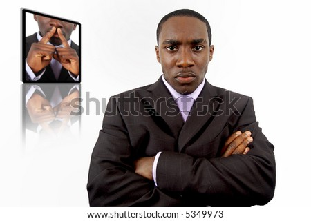 "This is an image of an angry businessman. This conceptual image can be used to represent ""Business Anger"" and ""Business Failure"" themes. - stock photo"