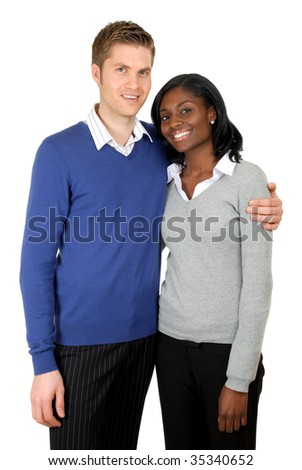 This is an image of business couple clutching each other.