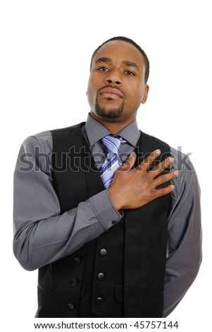This is an image of business man with his hand on chest. - stock photo