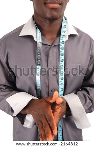 "This is an image of man with a measuring tape around his neck. This can represent ""Tailor"", ""Stylist"" etc.. - stock photo"