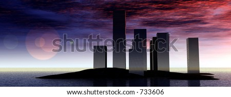 This is an island city. - stock photo