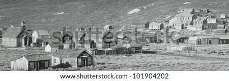 This is an old ghost town from around 1859. It was known as the Baddest Town in the West during the gold rush period. - stock photo