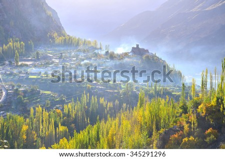 This is beautiful autumn in Hunza valley , Karimabad Pakistan - stock photo