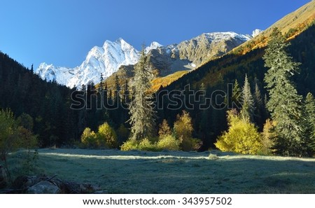 This is colorful morning in Caucasus mountains in autumn