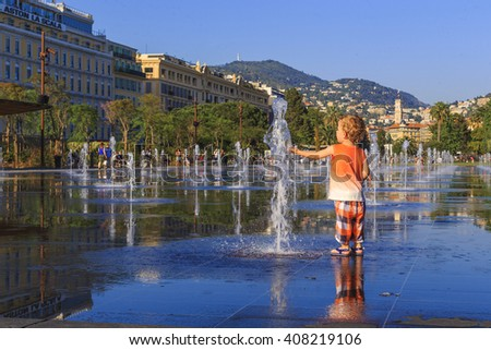 This is fountain on the Promenade du Payon at the center of the city in the hours of sunset May 18, 2015 in Nice, France. - stock photo