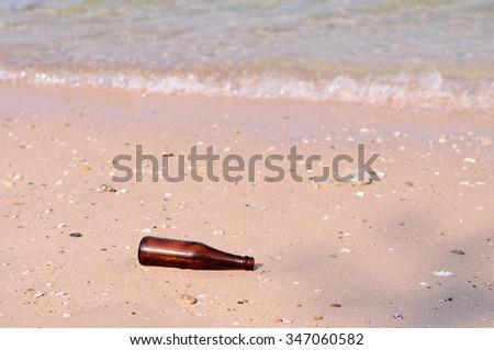 this is garbage on the beach - stock photo