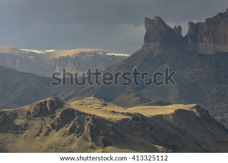 This is gloomy evening in Caucasus mountains in spring - stock photo