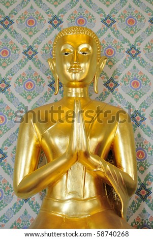 This is Gold Buddha statue in Temple Bangkok, Thailand - stock photo