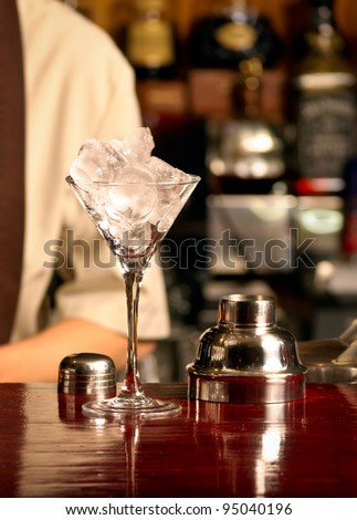 This is Ice cocktail on the wooden bar