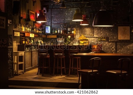 This is interior of modern european pub. - stock photo