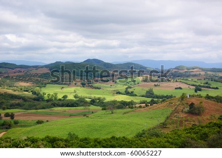 This is Landscape Top view in Countryside of Thailand - stock photo