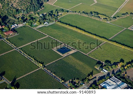 This is napa valley from a cessna plane at 3000 feet. - stock photo