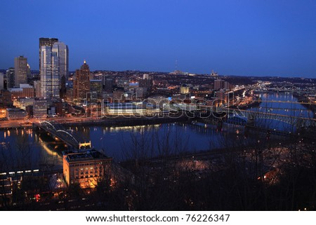 This is night Pittsburgh. View from Mount Washington - stock photo
