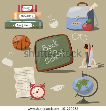 This is set with different school icons - stock photo