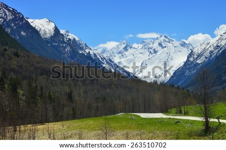 This is snow peaks in Caucasus mountains in spring