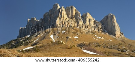 This is stone summit in Caucasus mountains in spring