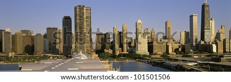 This is the Chicago skyline in morning light during summer.