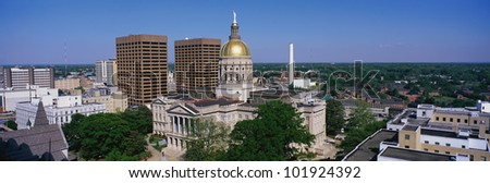 This is the Georgia State Capitol and skyline in daylight. - stock photo