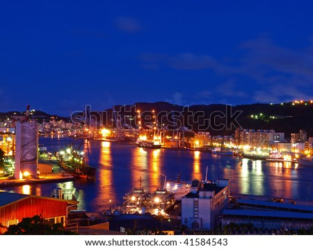 This is the Keelung Harbor in Taiwan. - stock photo