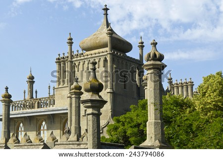 This is the northern facade of Vorontsov Palace (Alupka, Crimea). The palace is situated against the blue sky background.