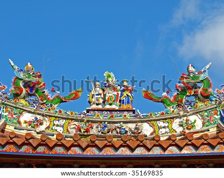 "This is the rooftop decoration of ""Tainan Official Mazu Temple"".The ""Tainan Official Mazu Temple"" is in Tainan City which is located in the southwestern plain of Taiwan."