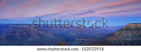 This is the south rim of the Grand Canyon at Mather Point at sunset. - stock photo
