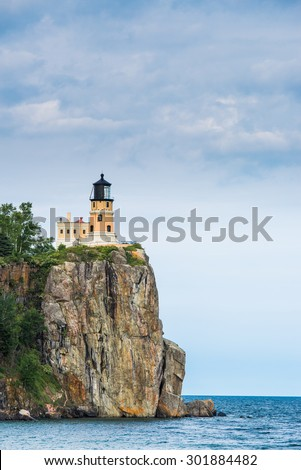 This is the Split Rock Lighthouse in the North Shore of Lake Superior in Minnesota. - stock photo