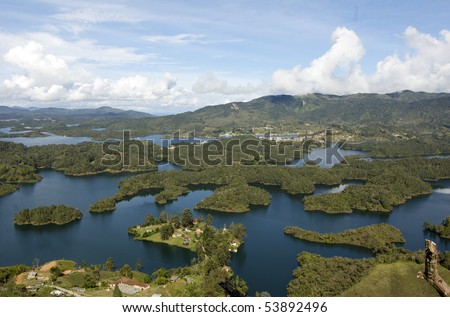 This is the view from the top of La Piedra de Penol just outside Medellin Colombia.  The photo does not do the 360 degree view of awesomeness any justice! - stock photo