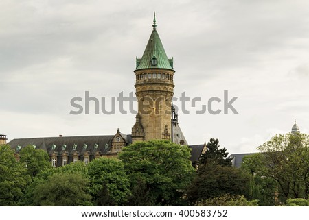 "This is tower building Luxembourg bank ""Spuerkeess"" in Upper Town May 15, 2013 in Luxembourg, Luxembourg."