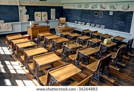 This is truly an antique old school classroom with all the trimmings. - stock photo