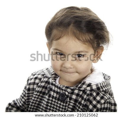This little girl have a cute face and she give us a smile - stock photo
