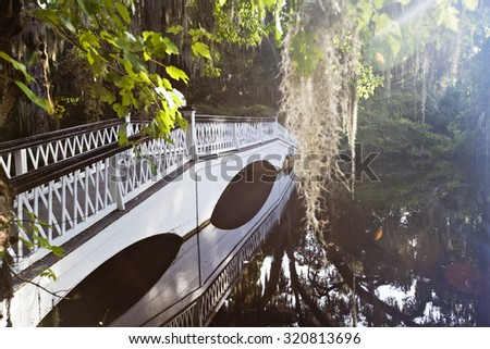 This long, white bridge is a popular tourist attraction in Charleston, South Carolina - stock photo