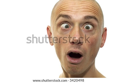 This man looks funny and cross-eyed. It's a caricature like emotion picture. - stock photo