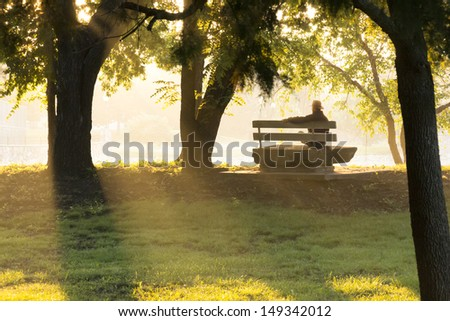 This mature adult male sits on a stone park bench at sunrise, in thought, contemplating life's challenges, surrounding by golden autumn leaves and beams of sunlight. - stock photo