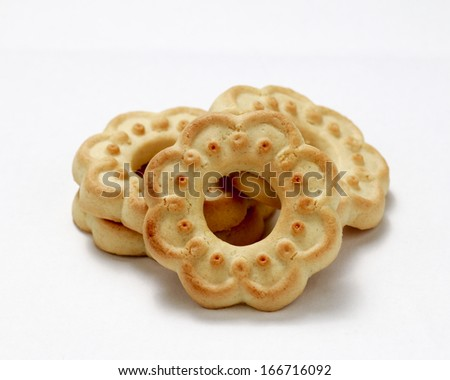 This photo shows a close up to some butter cookies.