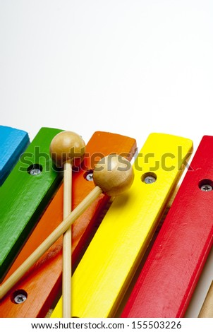 This photo shows a closeup of a xylophone.