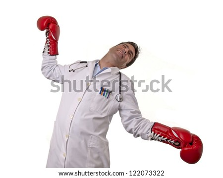 This photo shows a young doctor falling from a punch, isolated on white background.