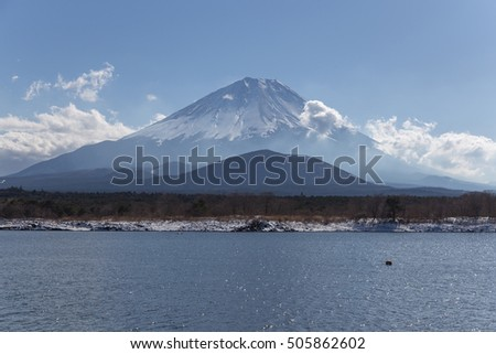 This photo was shot from Shoji Lake which is one of five lake surrounding Mt.Fuji. The snow falls in winter and makes this area cover by the beutiful white color. Focus at Mt.Fuji.