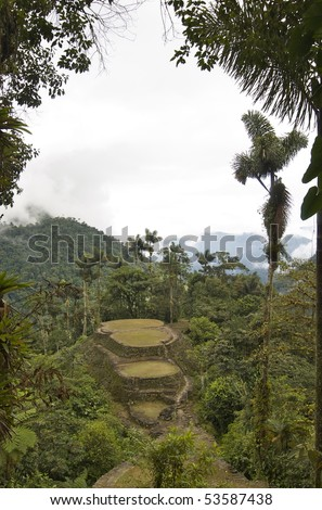 This photo was take from the top terrace of Ciudad Perdida (The Lost City), Colombia. - stock photo