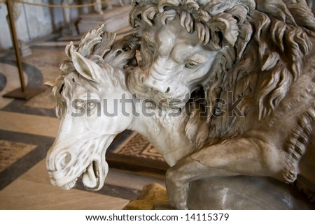 This sculpture from the Vatican museum depicts a lion attacking a horse.