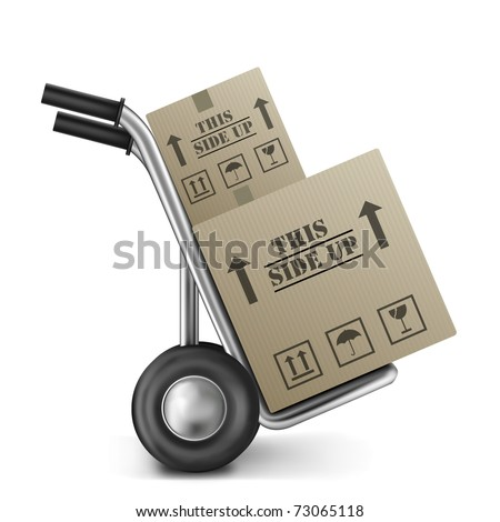 this side up cardboard box on hand trolley isolated on white fragile and handle with care - stock photo