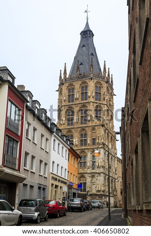 This tower is a historic town hall of Cologne, which is now held only wedding event May 16, 2013 in Cologne, Germany.