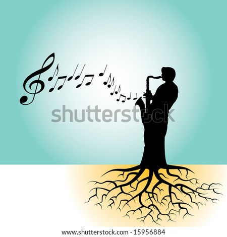 This vector background has a sax player with tree roots - stock photo