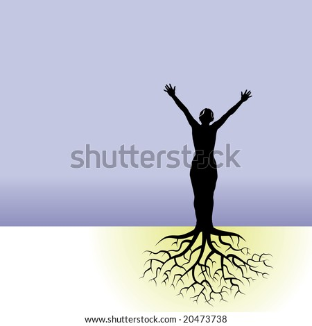 This vector background has a woman with tree roots - stock photo