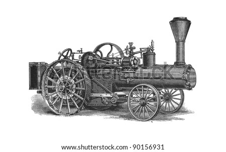 "This vintage engraving depicts a agricultural machinery. This engraving was published in a ""Agricultural machinery. Atlas"" edited by K.K.Veber in 1897, it is now in the public domain."