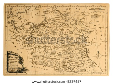 This vintage map of Poland was printed in 1773 to show the country's partitions. - stock photo