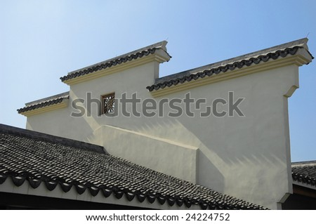 This wall with roof is familiar in chinese ancient building - stock photo